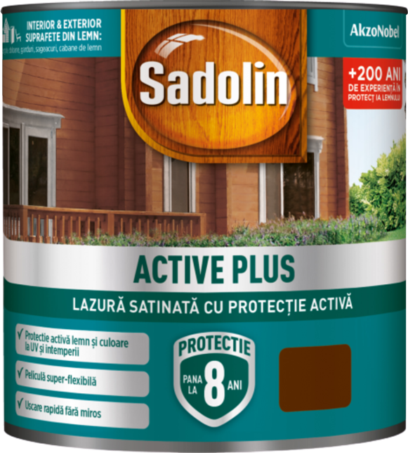 LAZURA SATINATA ACTIVE PLUS PALISANDRU 0.75ml SADOLIN